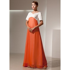 Empire V-neck Floor-Length Chiffon Satin Bridesmaid Dress