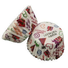 """Happy Wedding"" Pearl Paper Cupcake Wrappers"