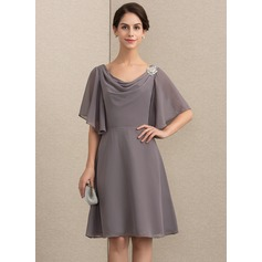 A-Line Cowl Neck Knee-Length Chiffon Cocktail Dress With Crystal Brooch