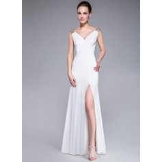 Trumpet/Mermaid V-neck Sweep Train Jersey Evening Dress With Beading Sequins