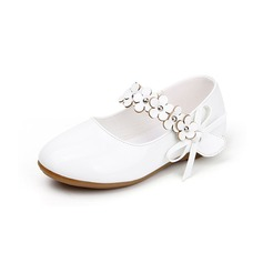 Girl's Closed Toe Mary Jane Leatherette Flat Heel Flower Girl Shoes With Flower