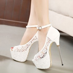 Women's Lace Stiletto Heel Pumps Platform Peep Toe With Buckle shoes (085118926)