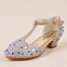 Jentas Lukket Tå Leather lav Heel Pumps Flower Girl Shoes med Spenne Rhinestone