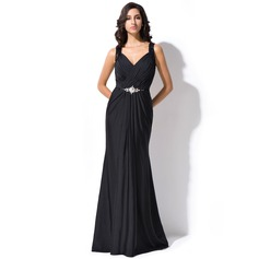 Trumpet/Mermaid V-neck Sweep Train Lace Jersey Evening Dress With Ruffle Beading Sequins