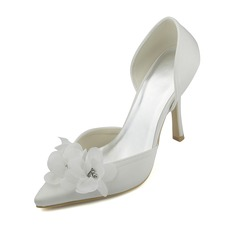 Women's Satin Stiletto Heel Closed Toe Pumps With Flower Crystal
