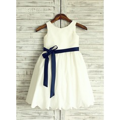 A-Line/Princess Knee-length Flower Girl Dress - Cotton Blends Sleeveless Scoop Neck With Bow(s)