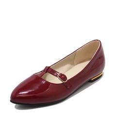 Kvinner Patentert Lær Flat Hæl Flate sko Lukket Tå med Blondér sko