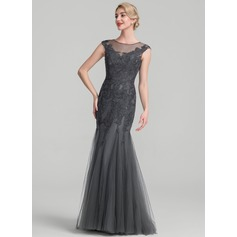 Trumpet/Mermaid Scoop Neck Floor-Length Tulle Lace Mother of the Bride Dress