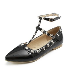 Women's Patent Leather Flat Heel Sandals Flats Closed Toe With Rivet Buckle shoes
