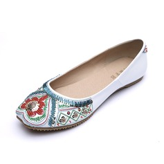 Leatherette Flat Heel Flats Closed Toe With Beading shoes