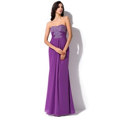 Trumpet/Mermaid Sweetheart Floor-Length Chiffon Evening Dress With Ruffle Beading