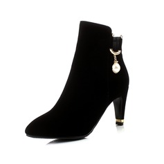 Women's Leatherette Stiletto Heel Closed Toe Ankle Boots With Beading shoes