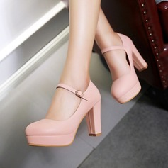 Women's Leatherette Chunky Heel Pumps With Buckle shoes