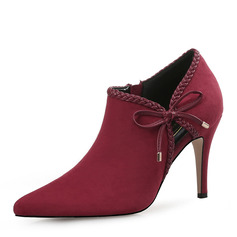 Women's Suede Stiletto Heel Pumps Closed Toe With Bowknot shoes (085220218)