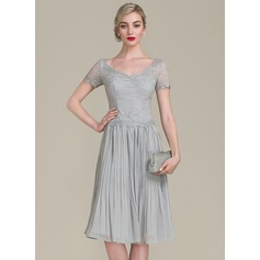 A-Line/Princess V-neck Knee-Length Chiffon Lace Mother of the Bride Dress With Ruffle