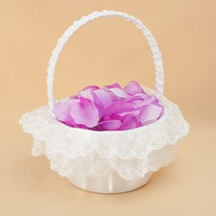 Elegant Flower Basket in Satin & Lace With Embroidery