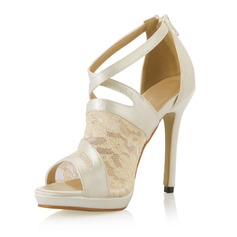 Women's Satin Stiletto Heel Peep Toe Pumps Sandals With Stitching Lace