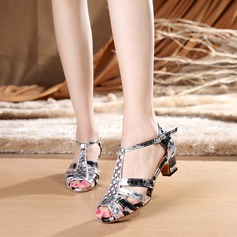 Women's Fabric Heels Sandals Latin With T-Strap Dance Shoes
