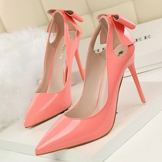 Women's Patent Leather Stiletto Heel Pumps Closed Toe With Bowknot Hollow-out shoes (085114811)