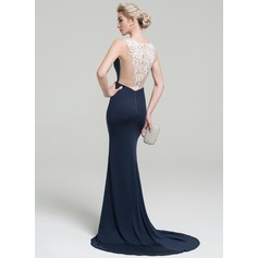 Trumpet/Mermaid V-neck Sweep Train Jersey Evening Dress With Lace Split Front