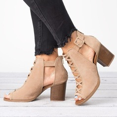 Women's Suede Chunky Heel Sandals With Hollow-out shoes (085202489)