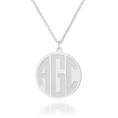 Custom Sterling Silver Letter Circle Coin Three Initial Necklace Circle Necklace - Birthday Gifts Mother's Day Gifts