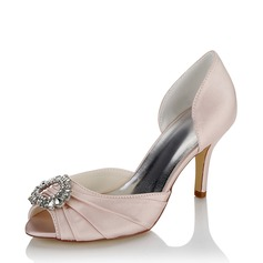 Women's Satin Silk Like Satin Spool Heel Pumps With Rhinestone
