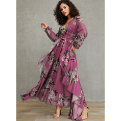 Polyester With Print Maxi Dress (199222815)