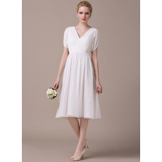 A-Line/Princess V-neck Knee-Length Chiffon Tulle Wedding Dress With Ruffle