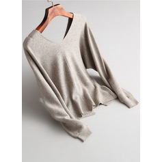 Plain Knit Wool V-neck Sweater Sweaters (1002157902)