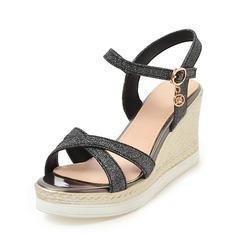 المرأة بريق يتلألأ كعب ويدج صنادل أسافين تو زقزقة أحذية خفيفة مع مشبك أحذية
