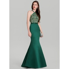Trumpet/Mermaid V-neck Floor-Length Satin Prom Dresses With Beading
