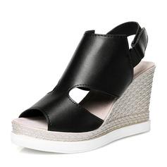 المرأة بو كعب ويدج صنادل أسافين تو زقزقة أحذية خفيفة مع فيلكرو أحذية