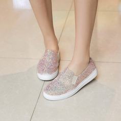Women's Sparkling Glitter Flat Heel Flats With Sequin shoes (086138245)