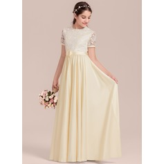 Floor-length Flower Girl Dress - Satin Short Sleeves Scoop Neck With Flower(s) (269211191)