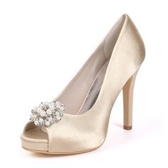 Women's Silk Like Satin Stiletto Heel Platform Pumps With Imitation Pearl Rhinestone