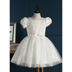 A-Line/Princess Short/Mini Flower Girl Dress - Tulle Short Sleeves Square Neckline With Embroidered/Beading/Flower(s)