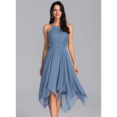 A-Line Halter Asymmetrical Chiffon Homecoming Dress