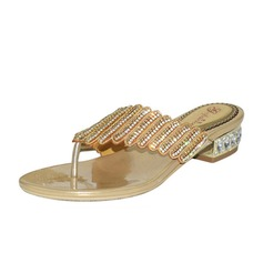 Women's Leatherette Low Heel Flip-Flops Sandals With Rhinestone