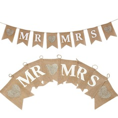 """Mr. & Mrs."" Hemp Rope/Linen Banner"