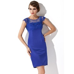 Sheath/Column Scoop Neck Short/Mini Satin Mother of the Bride Dress With Lace