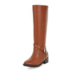 Women's Leatherette Low Heel Platform Closed Toe Mid-Calf Boots With Buckle shoes