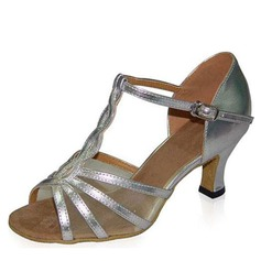 Women's Patent Leather Heels Sandals Latin With T-Strap Dance Shoes