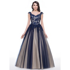 Ball-Gown Sweetheart Floor-Length Tulle Prom Dress With Beading Appliques Lace Sequins (018059413)