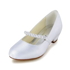 Girl's Closed Toe Satin Low Heel Pumps Flower Girl Shoes With Imitation Pearl