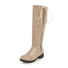 De mujer Cuero Tacón bajo Cerrados Botas Botas a la rodilla Botas de equitación con Cordones zapatos