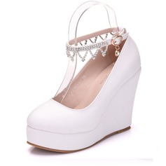 Women's Leatherette Wedge Heel Closed Toe Platform Pumps Wedges MaryJane With Buckle Rhinestone
