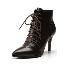 Women's Leatherette Stiletto Heel Platform Ankle Boots Martin Boots With Braided Strap shoes