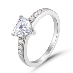 Halo Heart Cut 925 Silver Promise Rings (306256594)