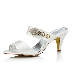 Women's Satin Cone Heel Sandals Dyeable Shoes